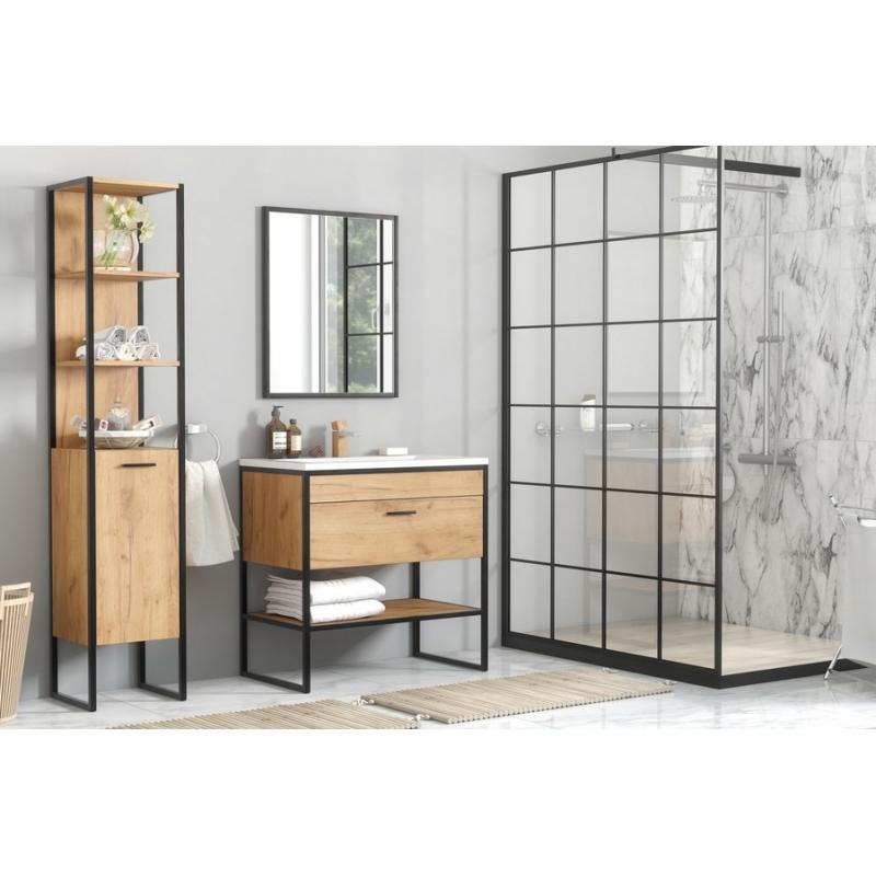 modernus vonios baldų komplektas, medinis, industrinio stiliaus