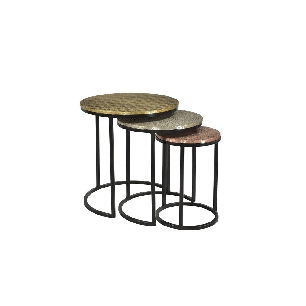 trijų staliukų komplektas, su žalvario, metalo ir vario stalviršiais