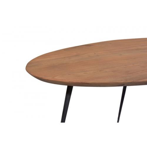 apvalus žurnalinis stalas, medžio spalvos, elegantiškas