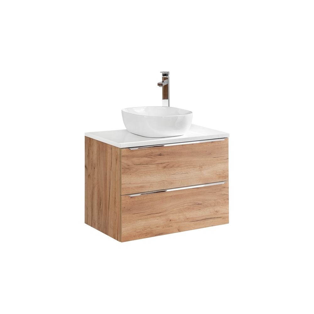 CAPPRI CRAFT stiliaus vonios spintelė su praustuvu, pakabinama, medžio spalvos