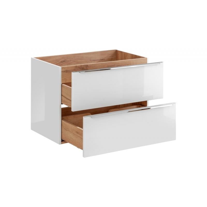 """Modernaus dizaino vonios spintelė, medinė, su """"softclose"""" tylaus uždarymo sistema"""