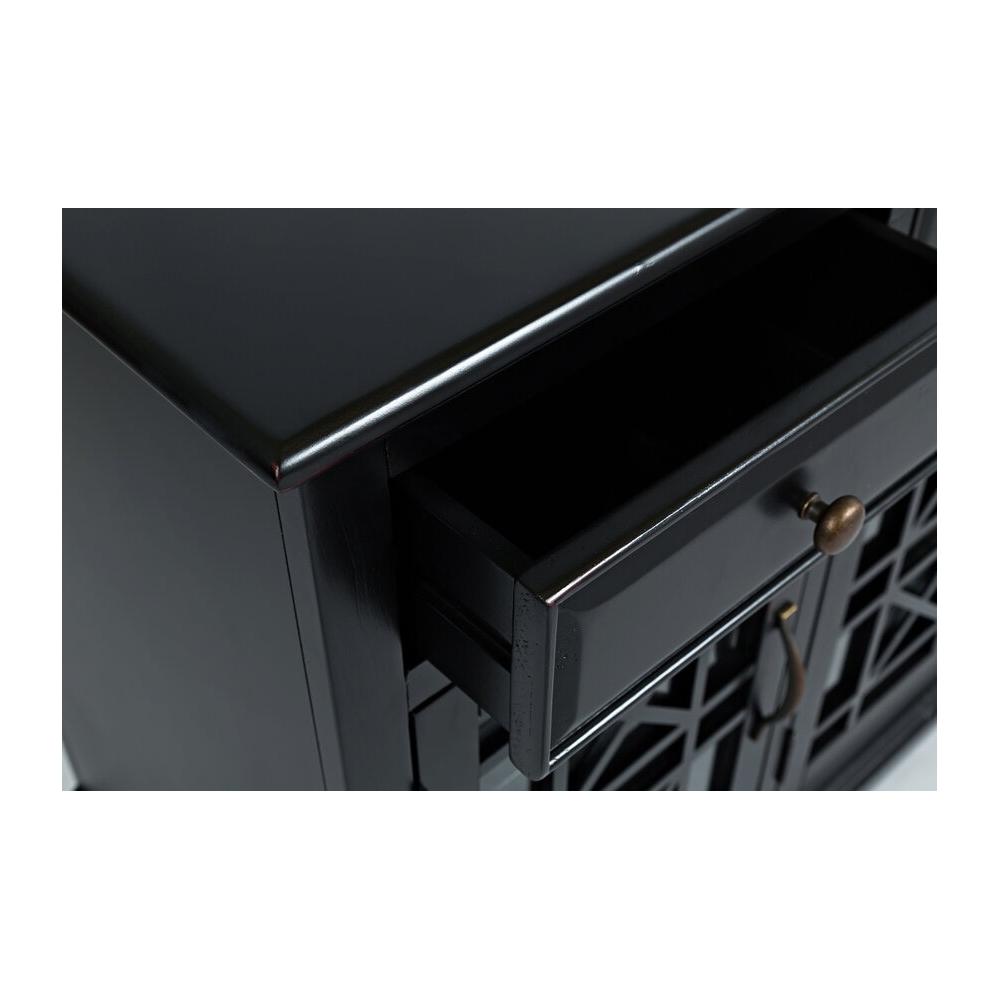 juodos spalvos spintelė, keturių durelių, su trimis stalčiais