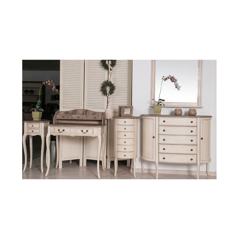 Komoda LIMENA - provanso stiliaus, su stalčiais ir lentynomis