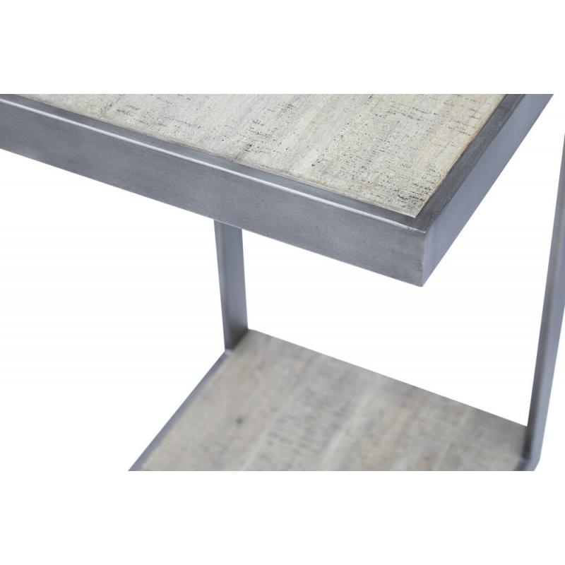 kampuotas staliukas, originalaus stiliaus, su metaliniu rėmu