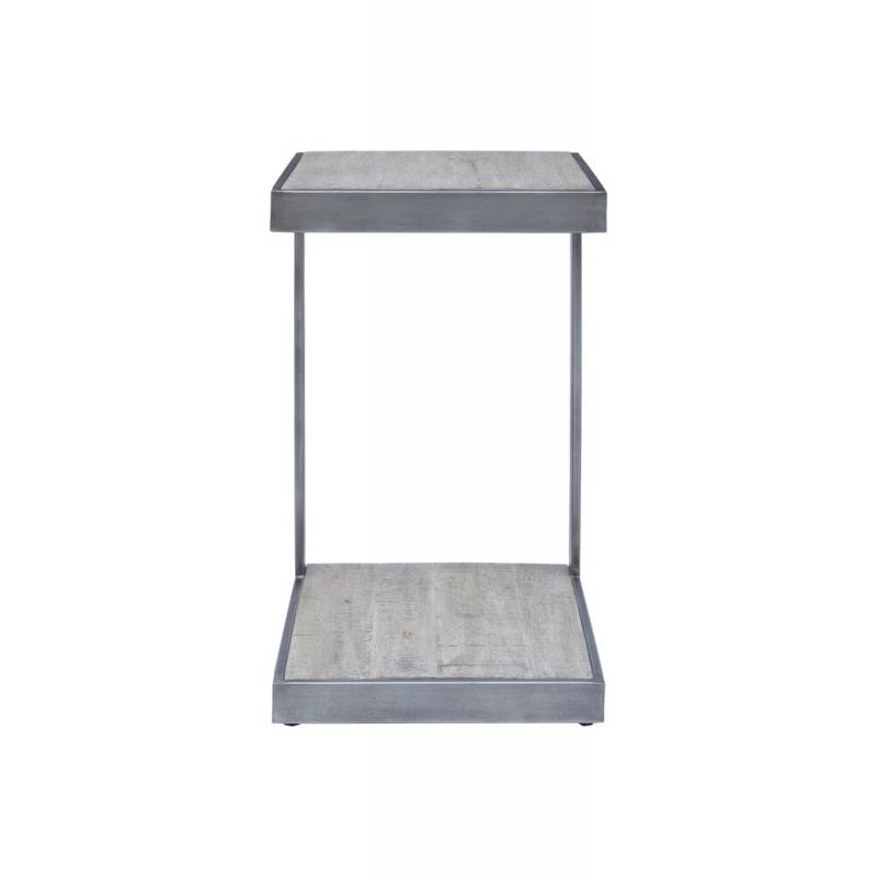 Žurnalinis staliukas mediniu stalviršiu, pilkos spalvos, medinis