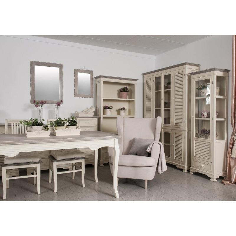Bufetas / indauja / vitrina PESARO - sendinto provanso stiliaus 90x40x190 cm, su kojelėmis ir stikline dalimi.