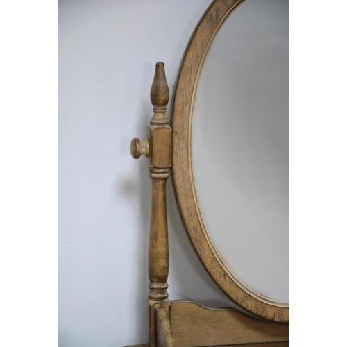 Provanso stiliaus veidrodis ant stalo, kaučiukmedžio, su stalčiais, statomas ant stalo