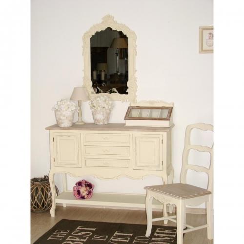 kreminės spalvos konsolė, su stalčiais, medinė