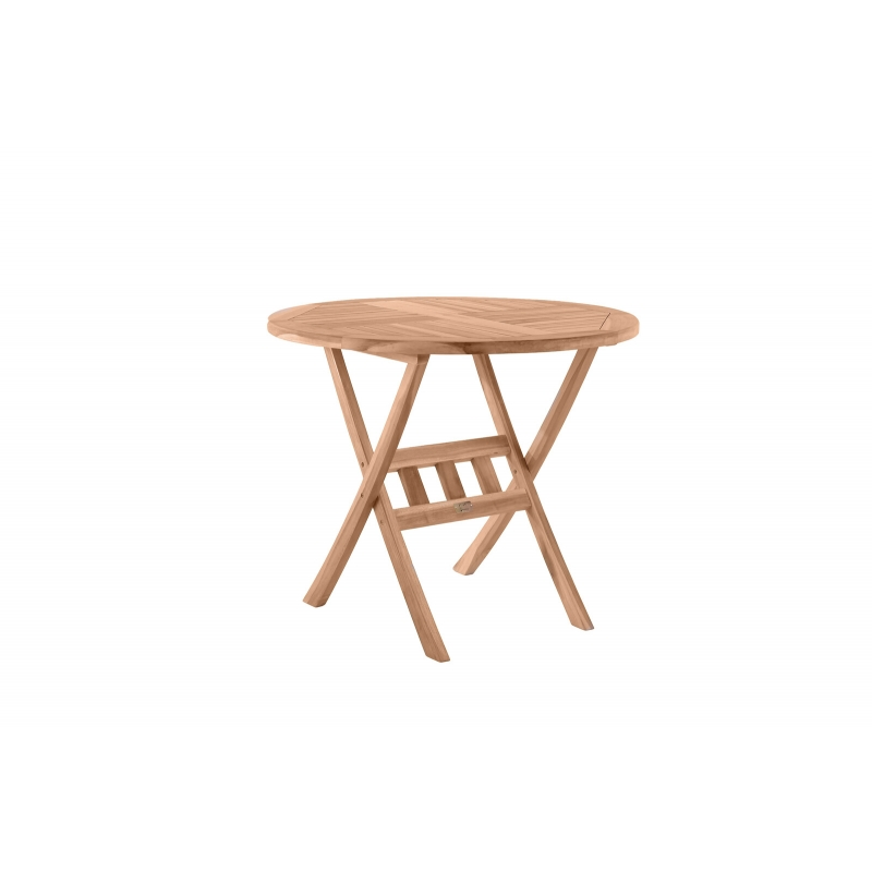 Apvalus 80 cm lauko stalas, suskleidžiamas, natūralaus tikmedžio