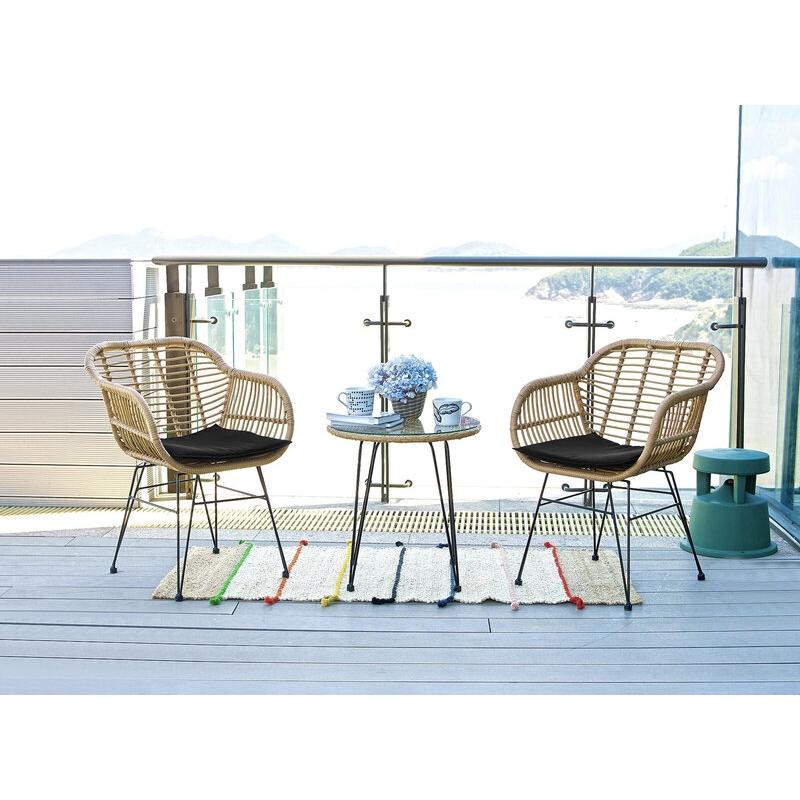 Modernaus dizaino lauko baldų komplektas, PE ratano, trijų dalių