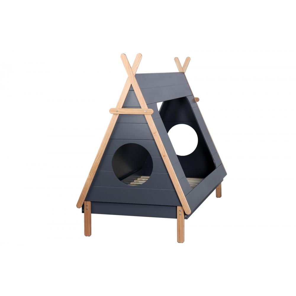 medinė lova vaikams, originalaus dizaino, juodos spalvos