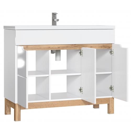 """Skandinaviško stiliaus vonios spintelė su praustuvu, su """"softclose"""" tylaus uždarymo sistema, 100 cm"""
