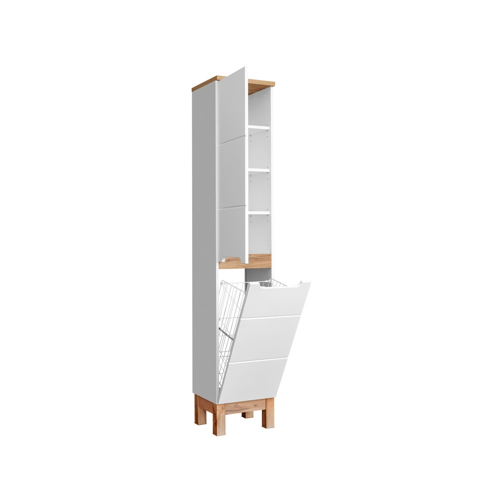 """Skandinaviško stiliaus vonios spintelė, su """"softclose"""" tylaus uždarymo sistema, su krepšiu skalbiniams"""