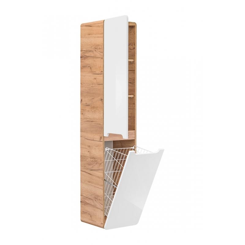 minimalistinė pakabinama vonios spintelė, krepšių skalbiniams, medinė