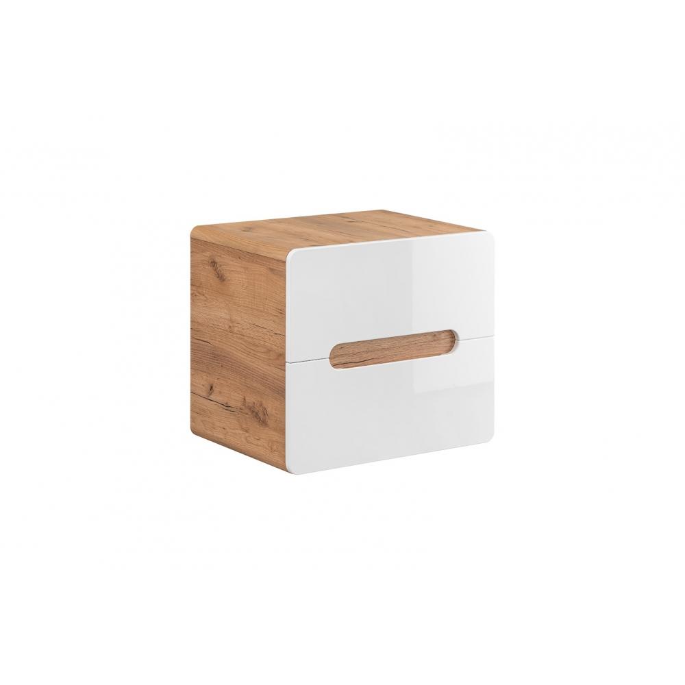 Patogi pakabinama vonios spintelė, modernaus stiliaus, baltu blizgiu fasadu