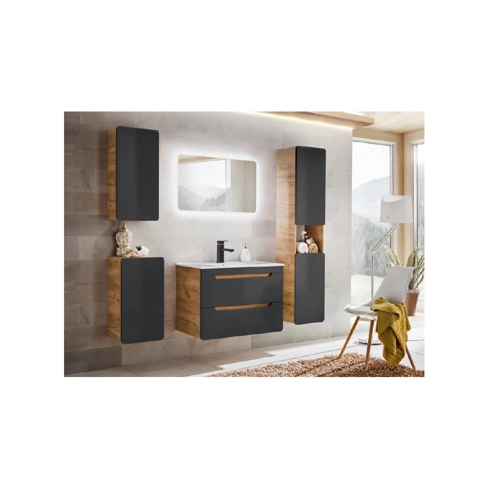Šiuolaikinio stilniaus pakabinama vonios spintelė, elegantiška, medinė