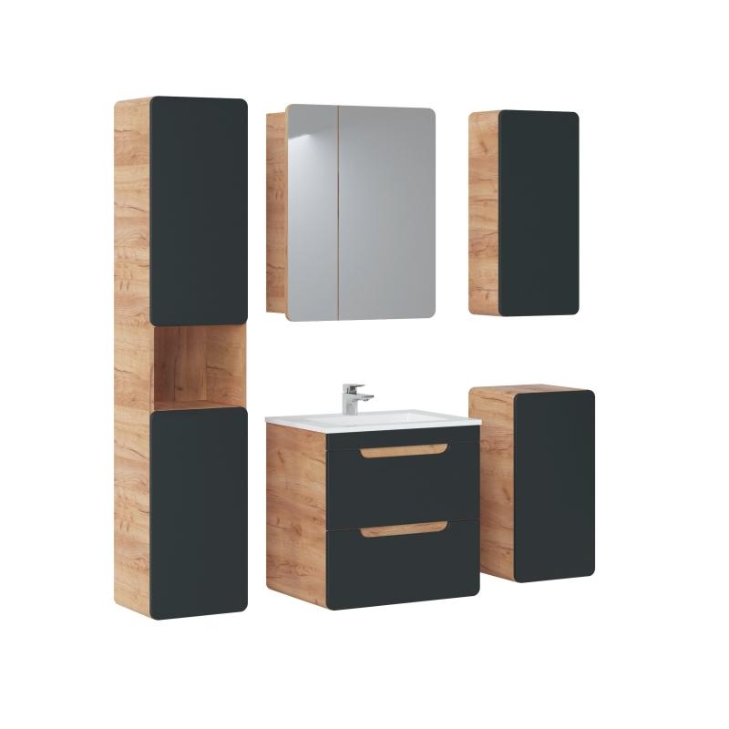 pakabinama vonios spintelė, juodu blizgiu fasadau, moderni