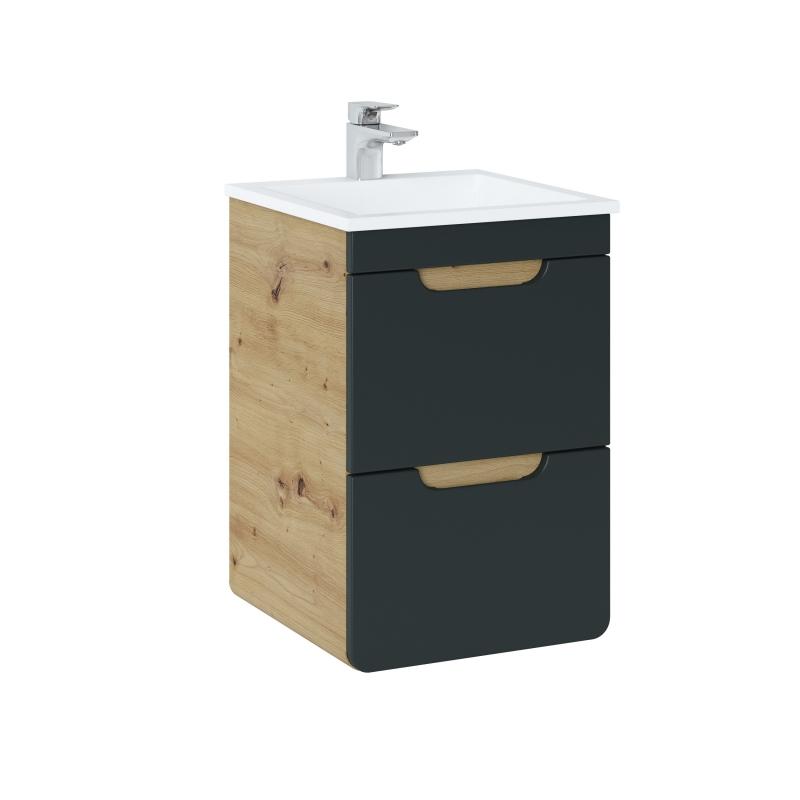 ARRAS BLACK stiliaus vonios spintelė su praustuvu, minimalistinė, elegantiška