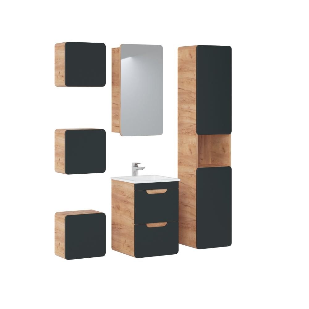 medinė pakabinama vonios spintelė, estetiška, ruda