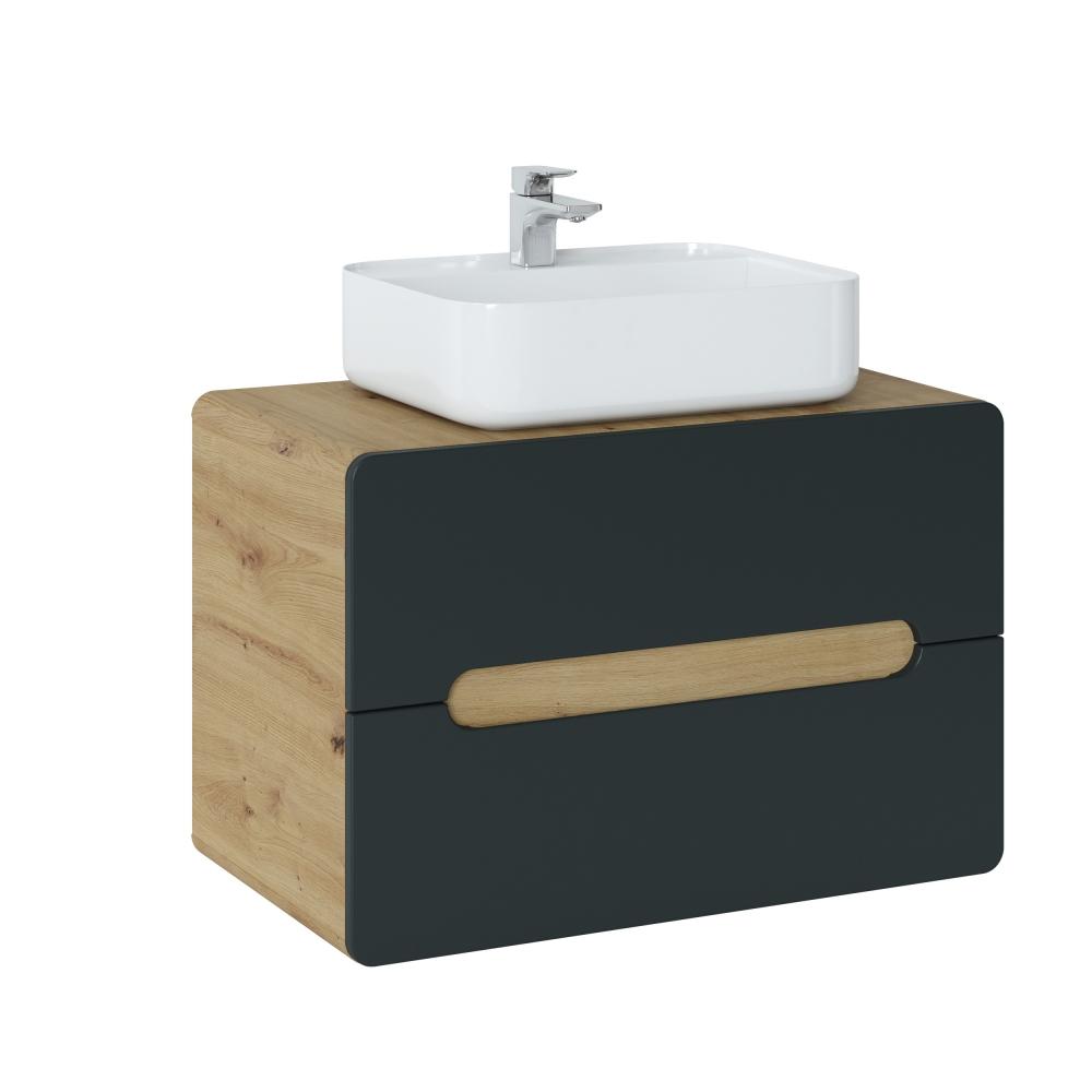ARRAS BLACK stiliaus pakabinama vonios spintelė su praustuvu, ąžuolo imitacijos, minimalistinė