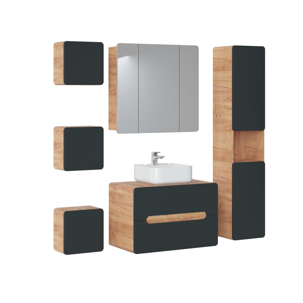 kokybiška vonios spintelė su praustuvu, juodu blizgiu fasadu, kokybiška