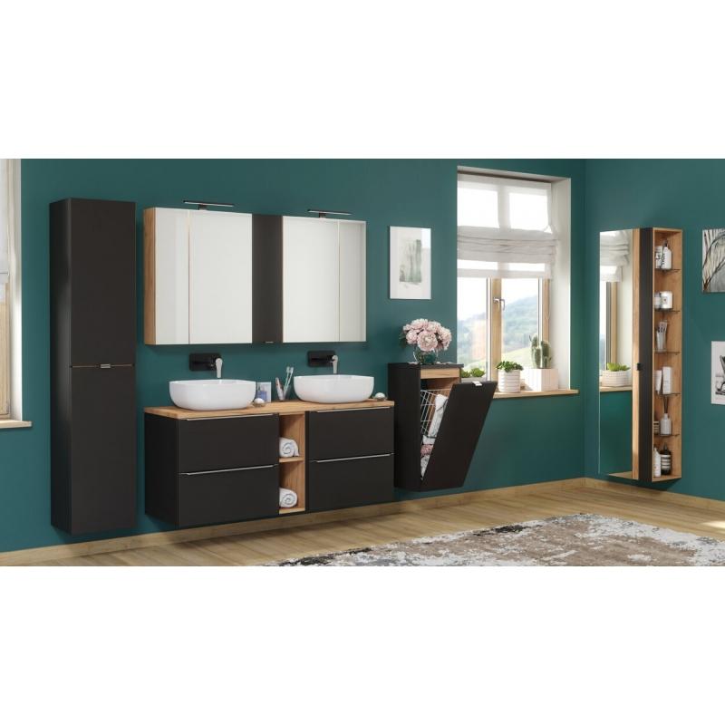 Modernaus dizaino spintelė, su lentyna, tamsiai pilkos spalvos