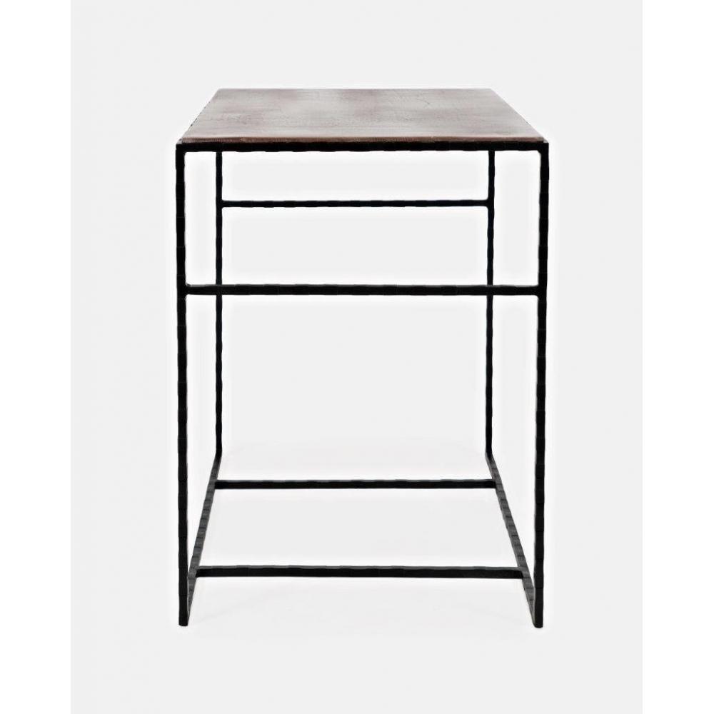 Stilingas žurnalinis staliukas, metalinėmis kojomis, su tikmedžio stalviršiu