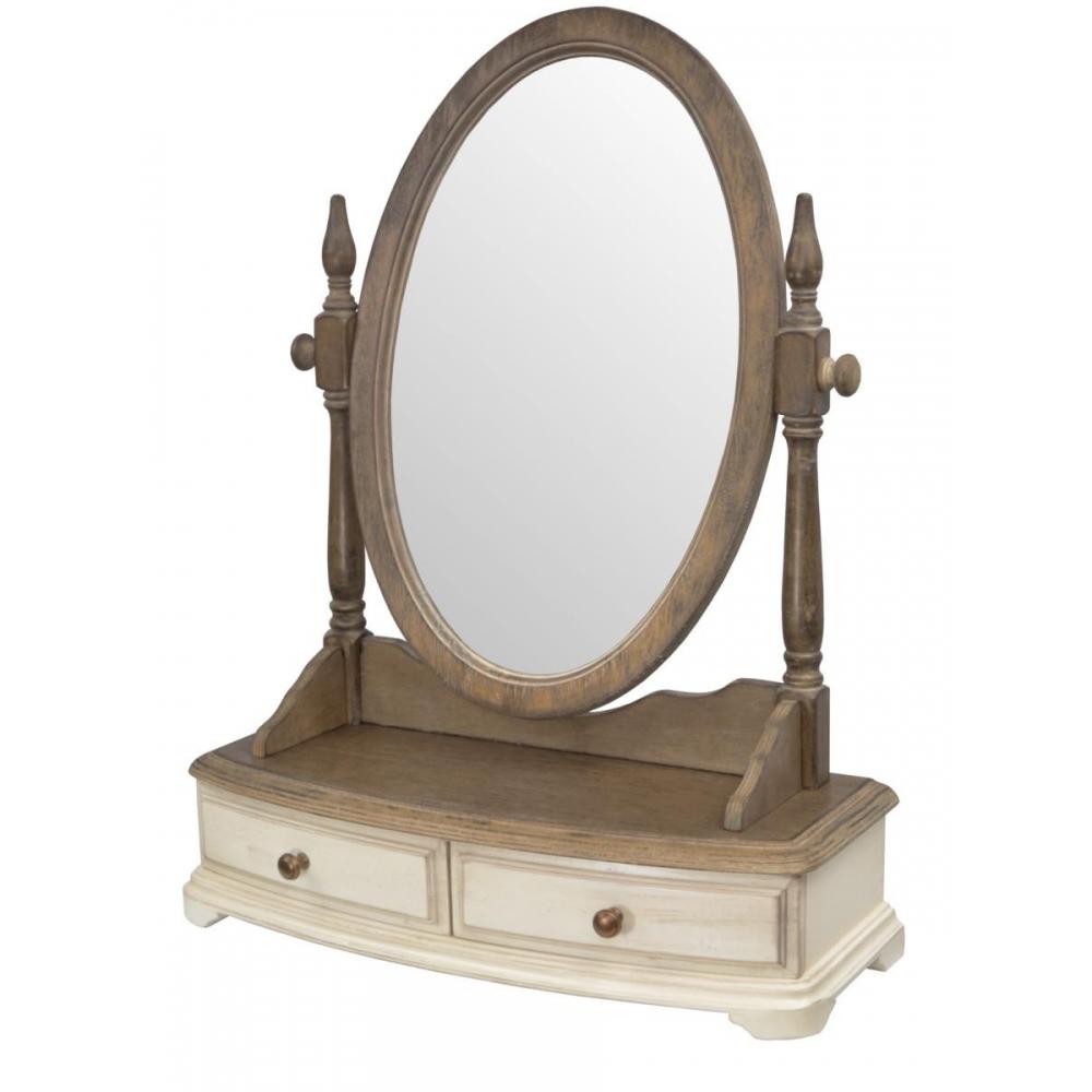 veidrodis LIMENA stiliaus, kreminės spalvos, medinis