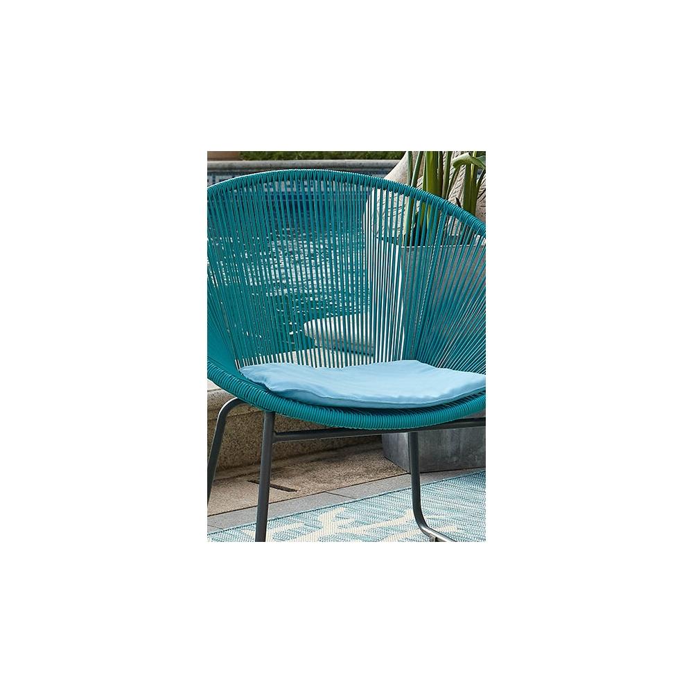 lauko baldų komplektas iš dviejų kėdžių ir staliuko, melynos spalvos, modernaus dizaino