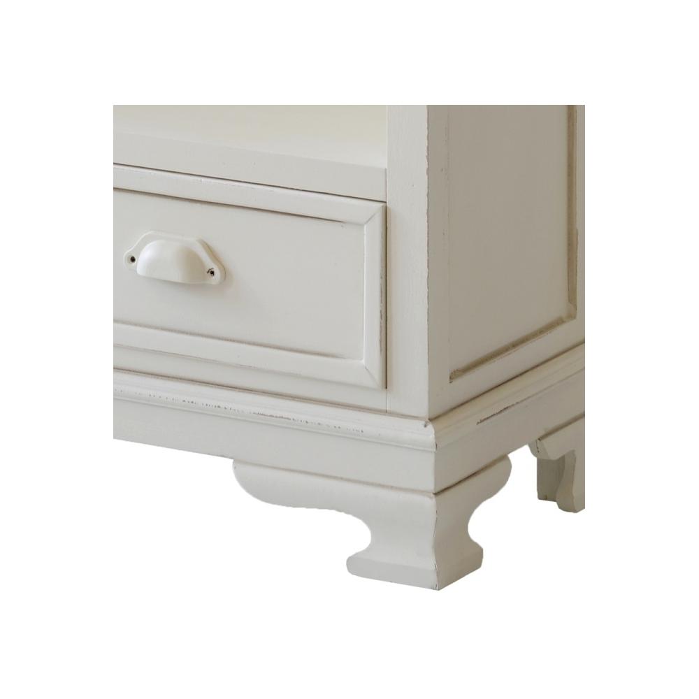 baltos spalvos komoda, retro stiliaus, 5 stalčiu