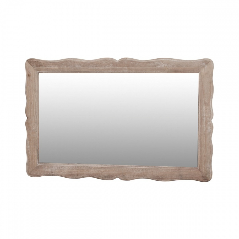 Provanso stiliaus veidrodis, kreiminės spalvos, sendinto dizaino