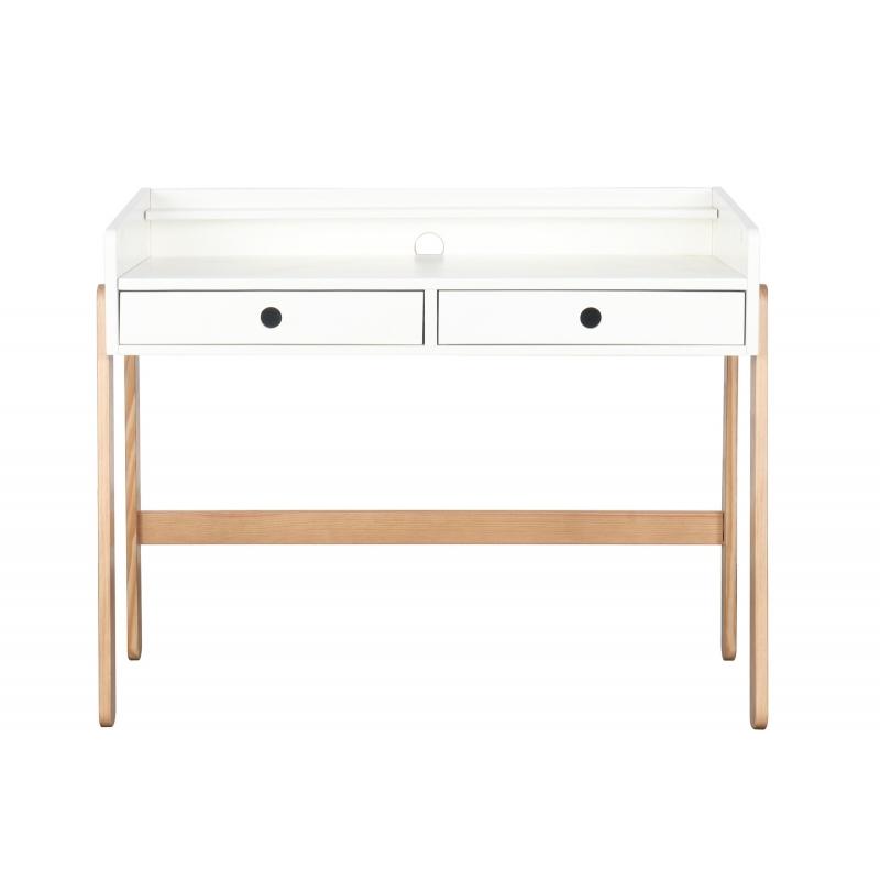 medinis rašomasis stalas vaikams, baltas, su stalčiais