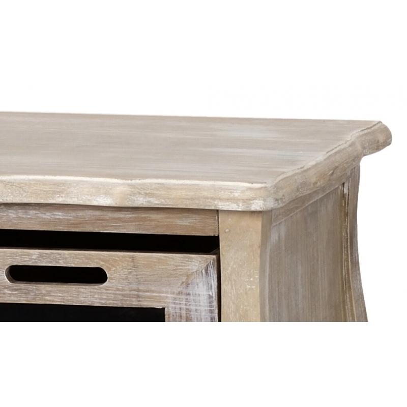 TV staliukas 036B MERANO - medinė provanso stiliaus 100x35x46 cm spintelė su 3 skyriais.