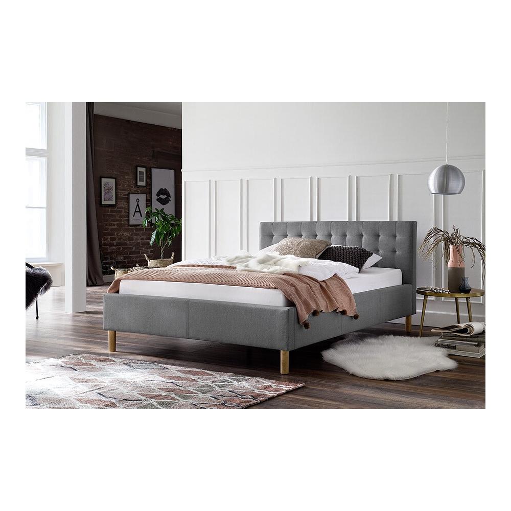 Modernaus dizaino lova, minkšta, aptraukta audiniu