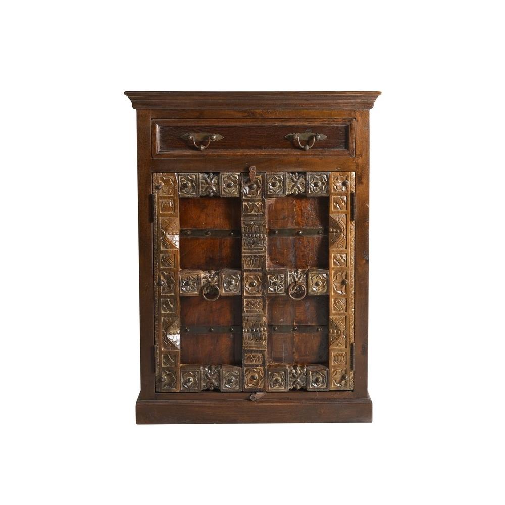 indiško stiliaus spintėlė, antikvarinio stiliaus, su stalčiumi