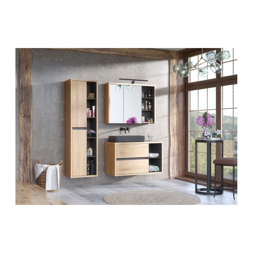 veidrodis-spintelė su atvira lentyna, minimalistinis, medinis