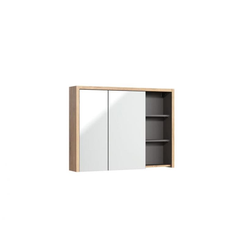 """Modernaus dizaino pakabinamas veidrodis-spintelė, ąžuolo imitacijos vonios veidrodis-spintelė, su """"softclose"""" tylaus uždarymo si"""