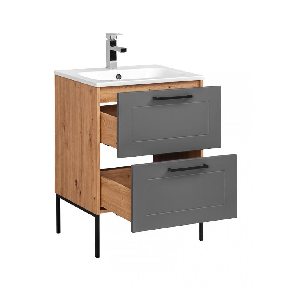 """ąžuolo imitacijos vonios spintelė su praustuvu, su metalinėmis kojelėmis, su """"softclose"""" tylaus uždarymo sistema"""