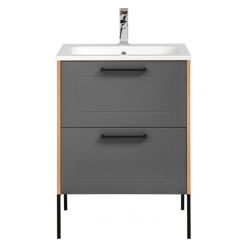 Modernaus dizaino vonios spintelė su praustuvu, Prabangi, grafito pilkumo, grafito spalvos
