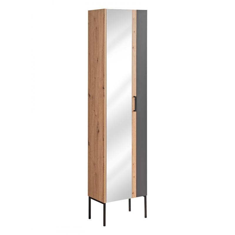 Modernaus dizaino vonios spintelė su veidrodžiu, Prabangi, grafito pilkumo, grafito spalvos