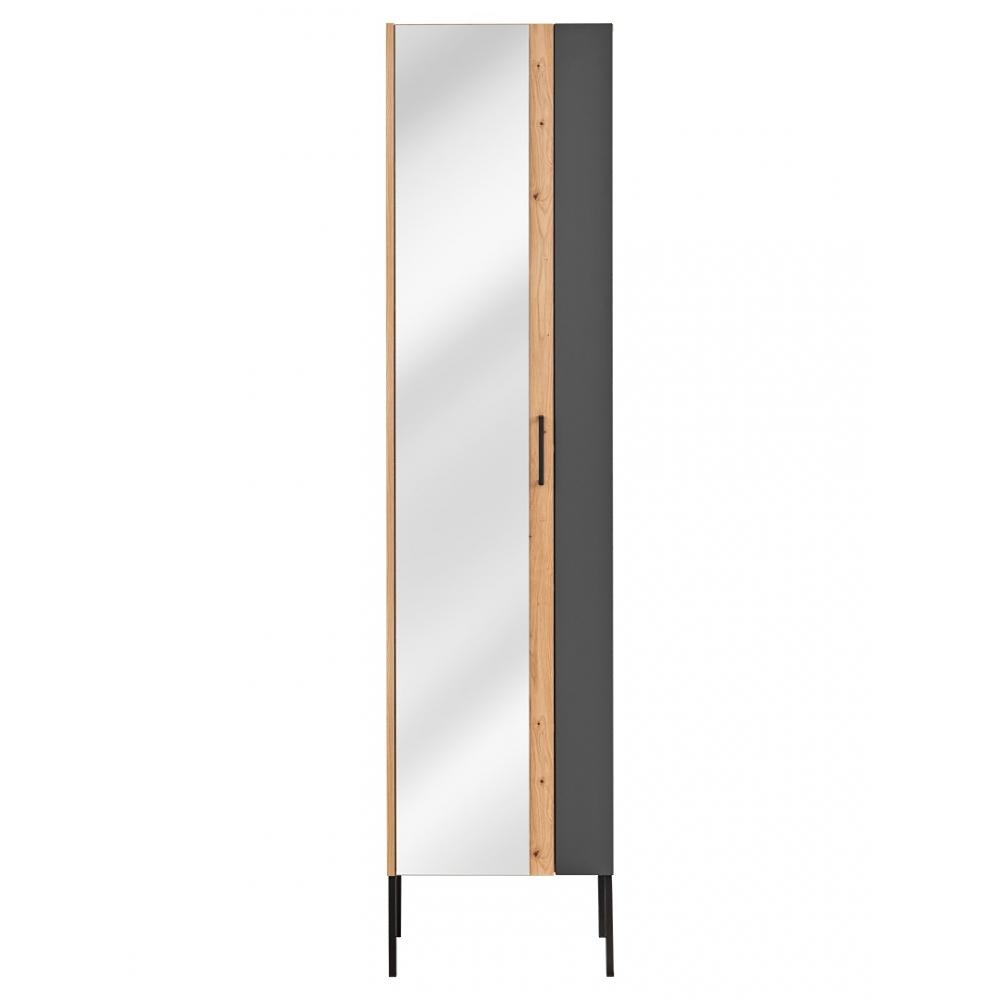 medinė vonios spintelė su veidrodžiu, medžio spalvos, šiuolaikinio dizaino