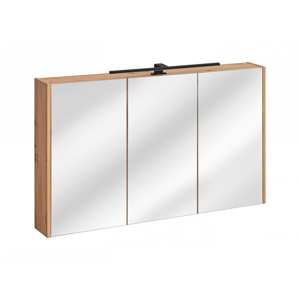 """Prabangus ąžuolo imitacijos vonios veidrodis-spintelė, su """"softclose"""" tylaus uždarymo sistema, su LED apšvietimu"""