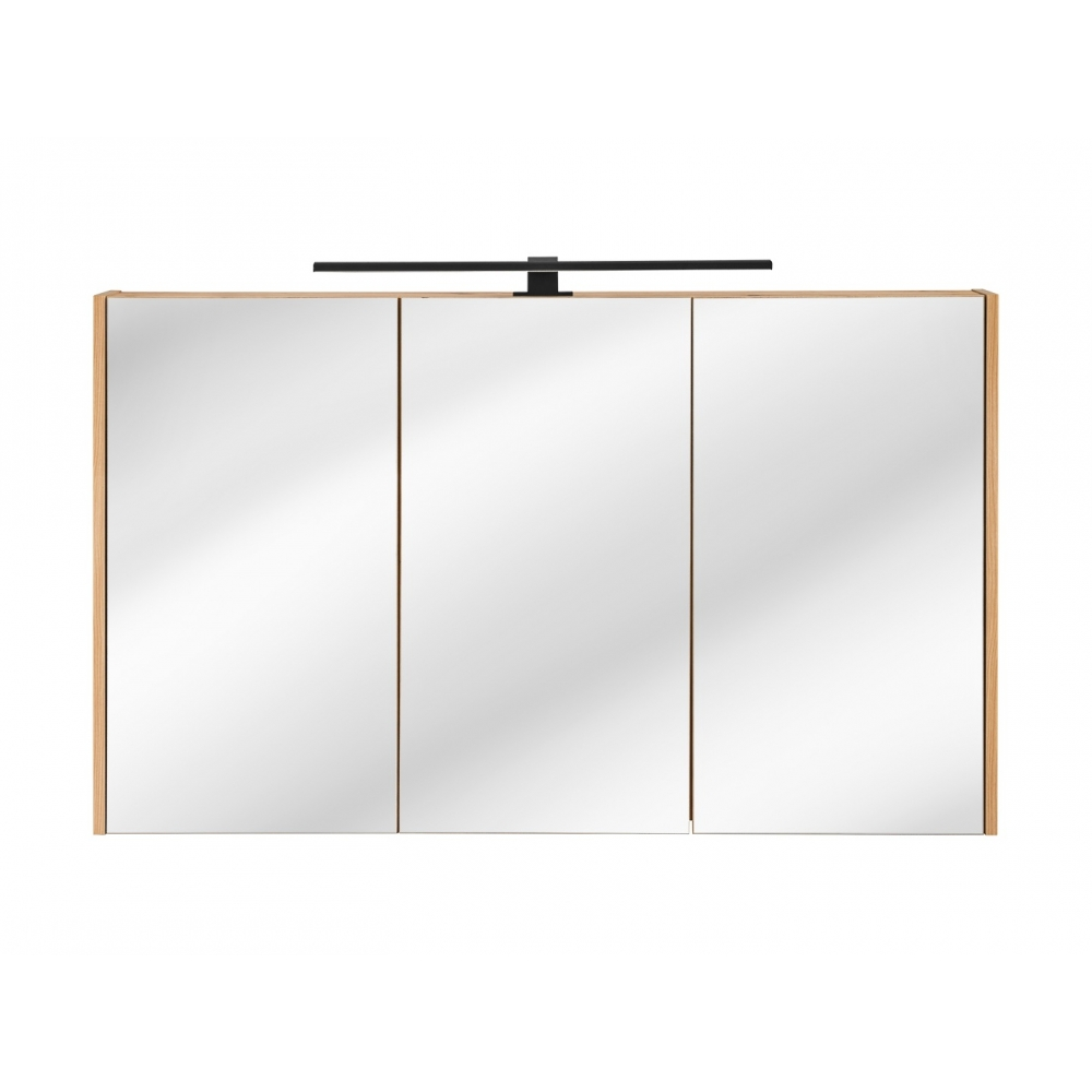 Medinis vonios veidrodis-spintelė, medžio spalvos, plonų rėmų