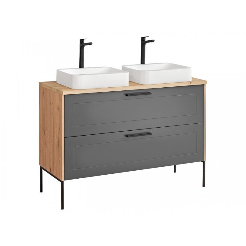 """ąžuolo imitacijos vonios spintelė su 2 praustuvais, su metalinėmis kojelėmis, su """"softclose"""" tylaus uždarymo sistema"""