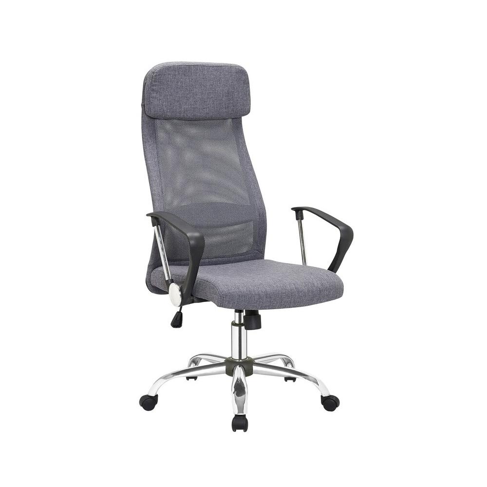 lininio audinio biuro kėdė, nerūdijančio plieno kojelėmi ir ratukais, reguliuojamu aukščiu su atlošu