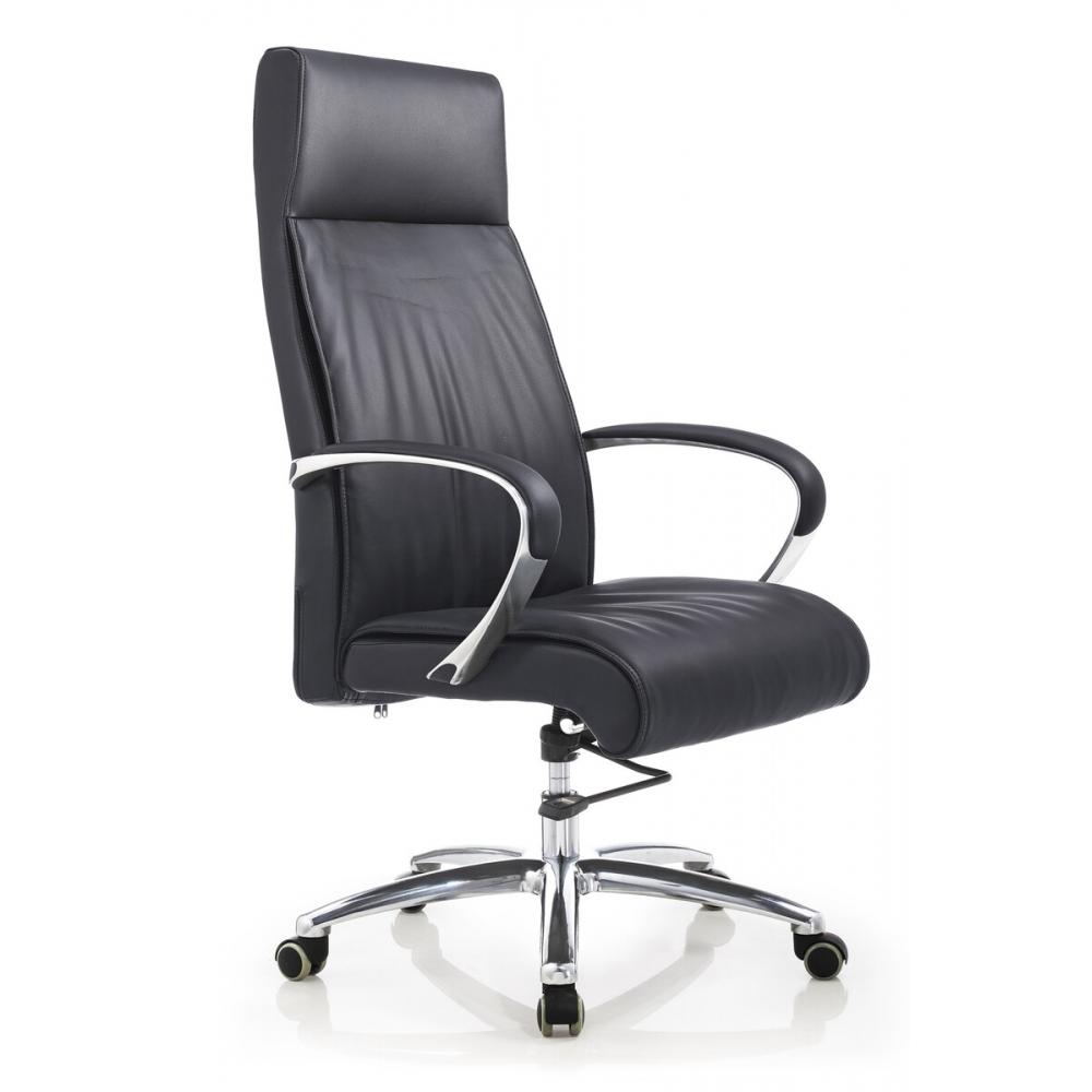 modernaus dizaino ofiso kėdė, natūralios odos, su aliumininiais porankiais