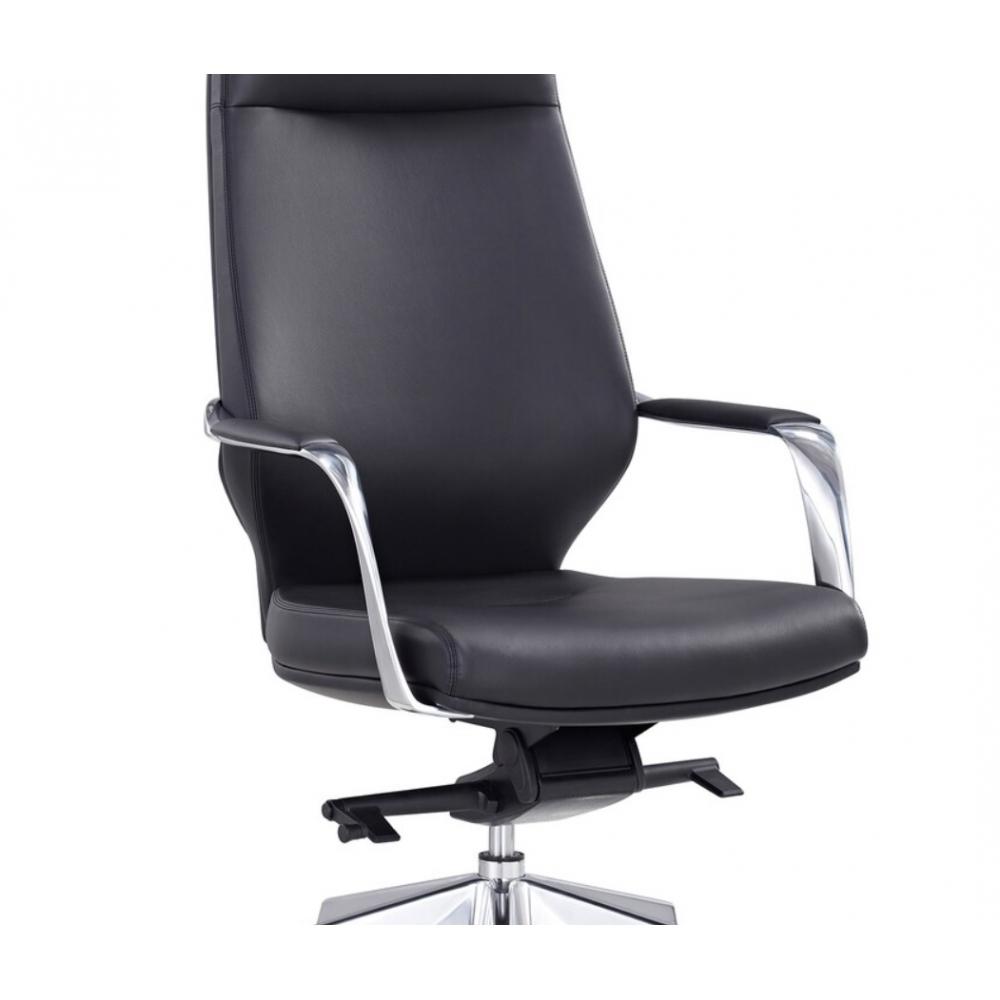 šiuolaikiško stiliaus biuro kėdė, poliruoto aliuminio rėmo, reguliuojamu aukščiu ir atlošu, su ratukais