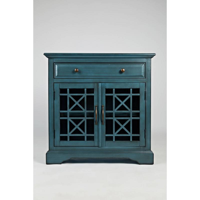 antique blue spalvos spintelė, su stalčiumi, su dvejomis įstiklintomis ažūrinėmis durimis