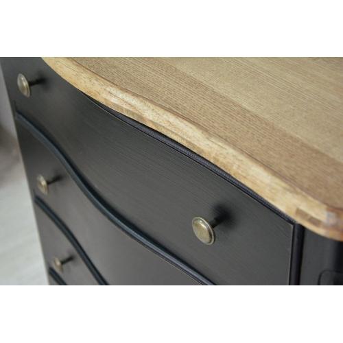 juodos spalvos komoda, su stalčiais, medinė ir aukšta