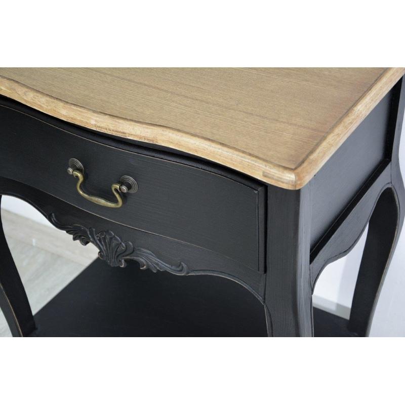 senovinio dizaino naktinis stalas, medinis, juodas